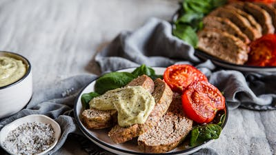 Keto Italian meatloaf with baked tomatoes and pesto mayo