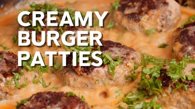 Creamy burger patties