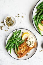 Keto turkey schnitzel with green bean fries and dijon mayo