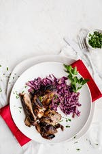 Ginger ribs with creamy red cabbage
