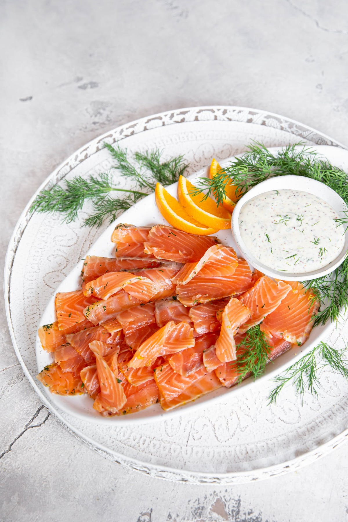 Keto orange-cured salmon with dill and mustard mayo