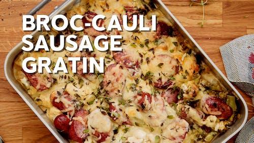 Broc-cauli香肠奶油烤菜
