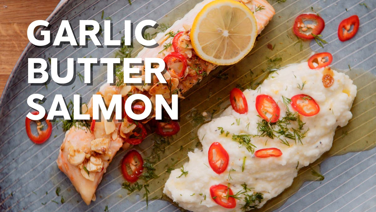 Keto lemon garlic butter salmon with almonds and chilli