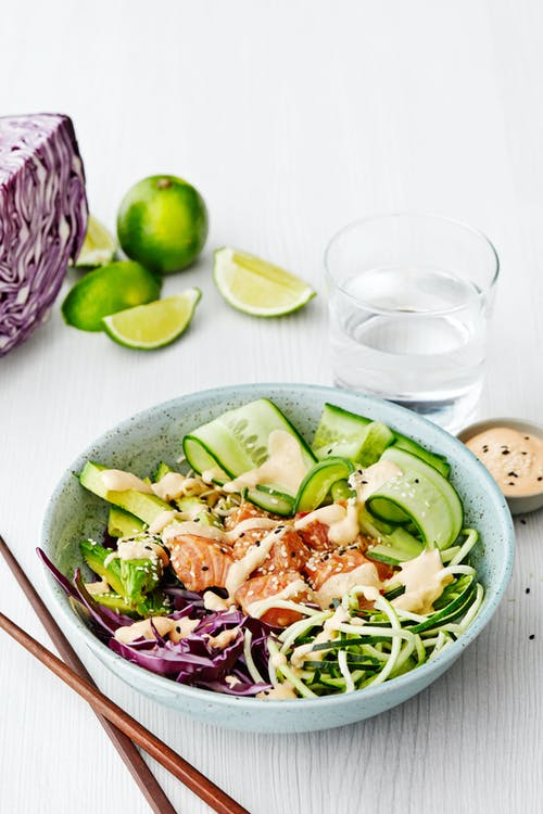 Low-carb salmon poke bowl with zoodles