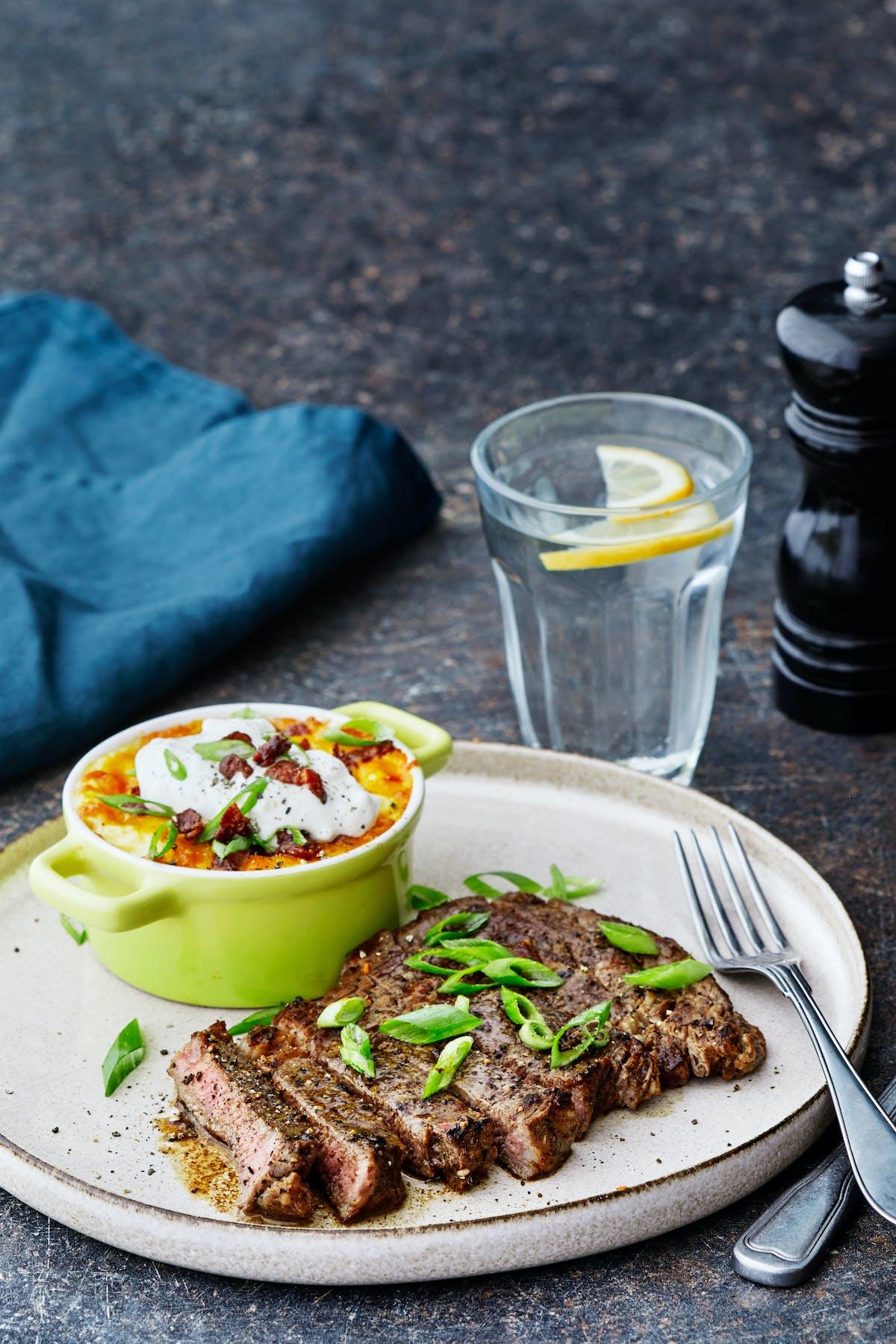 Ribeye steak with loaded cauliflower mash