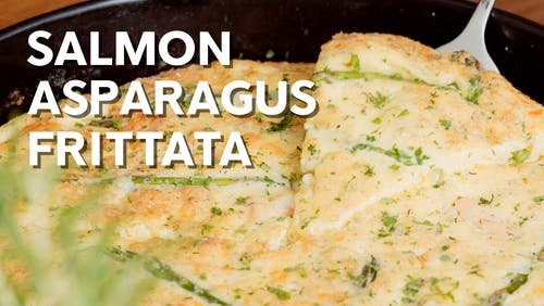Salmon asparagus frittata
