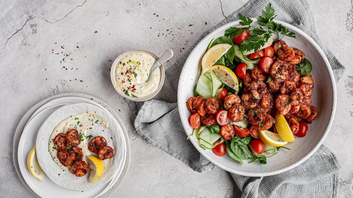 BBQ shrimp with lemon herb aioli