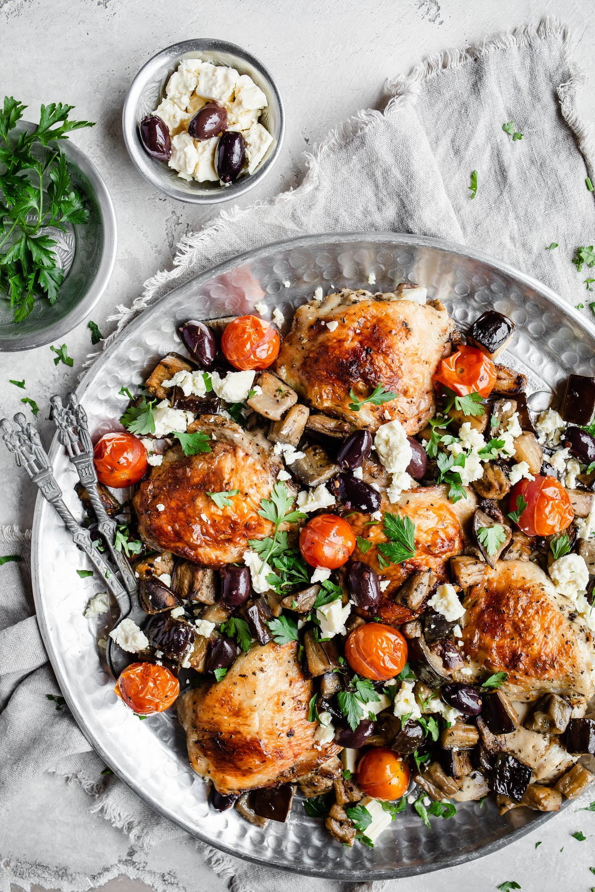 Keto chicken and eggplant sheet-pan with tzatziki