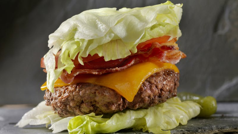 Low Carb – Lettuce Wrap Bacon CheeseBurger