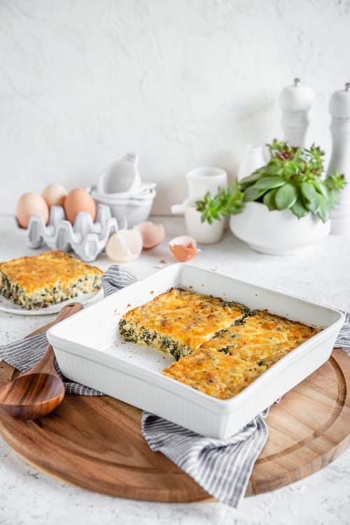 Kale casserole with mushrooms and cheddar