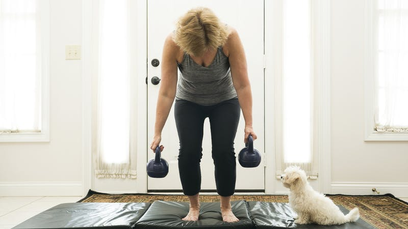 Exercising at home with a puppy