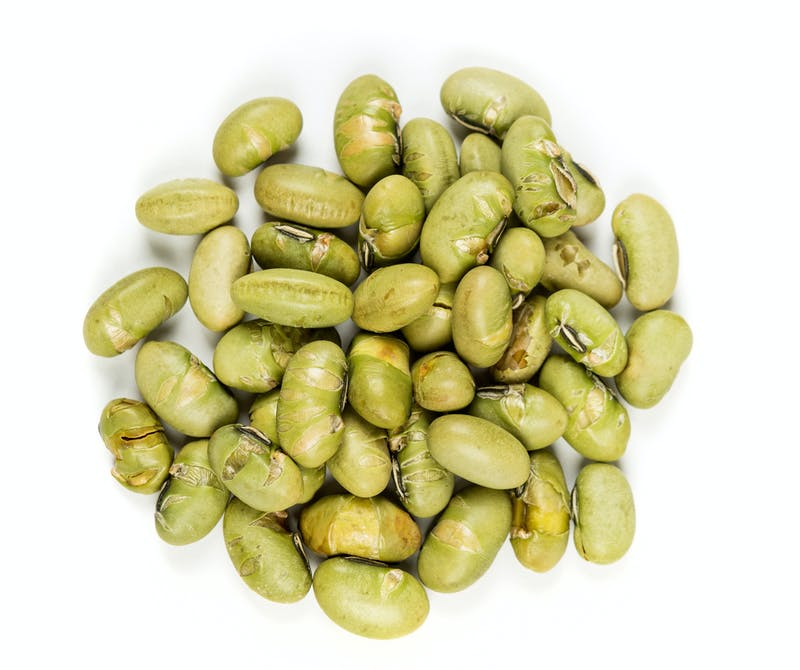 Roasted edamame beans isolated on white background