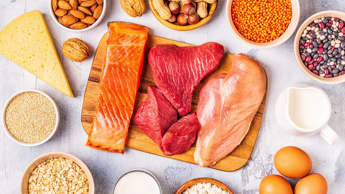 Sources of healthy protein – meat, fish, dairy products, nuts, legumes, and grains