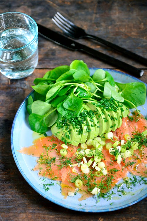 Smoked salmon with avocado and watercress
