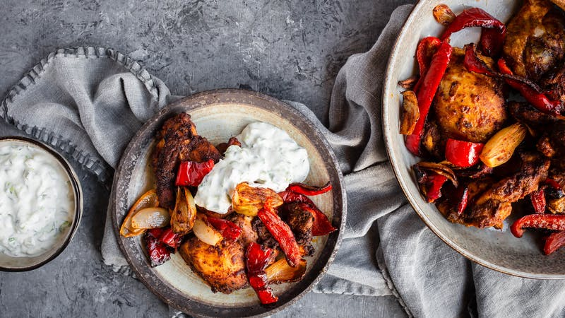 Air fryer Moroccan chicken with vegetables