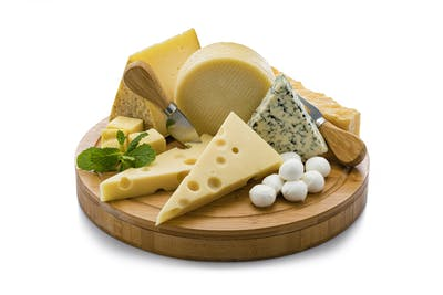 Cheeses board isolated on white background