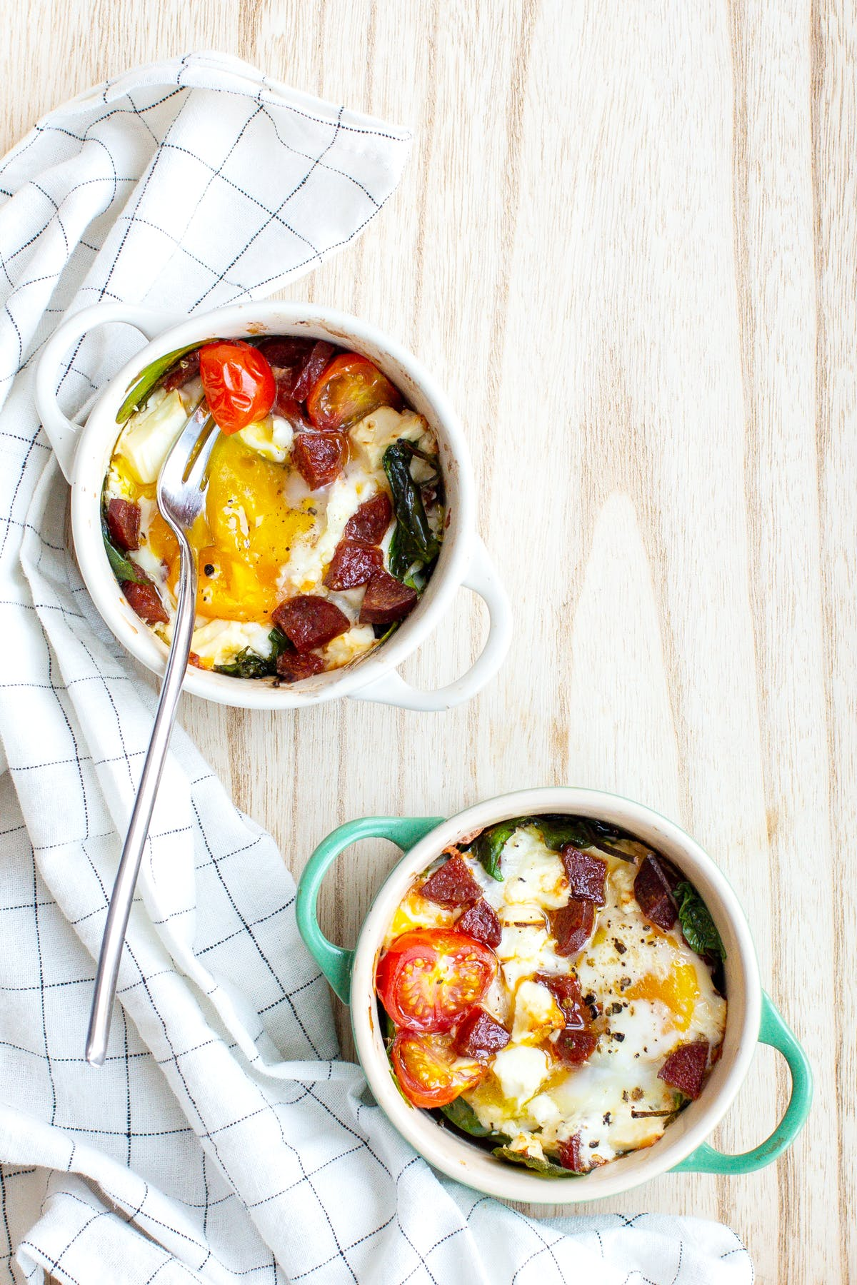 Baked egg pots with chorizo and feta cheese