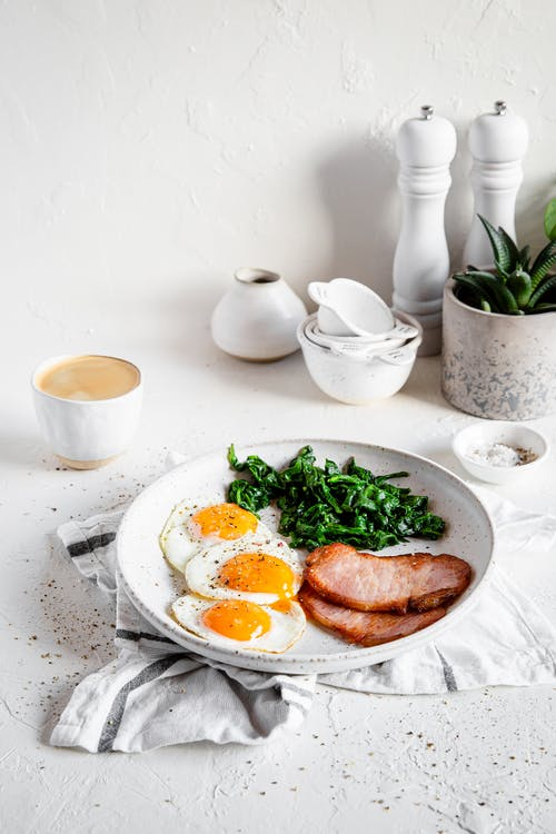 High-protein breakfast with Canadian bacon, eggs, and spinach