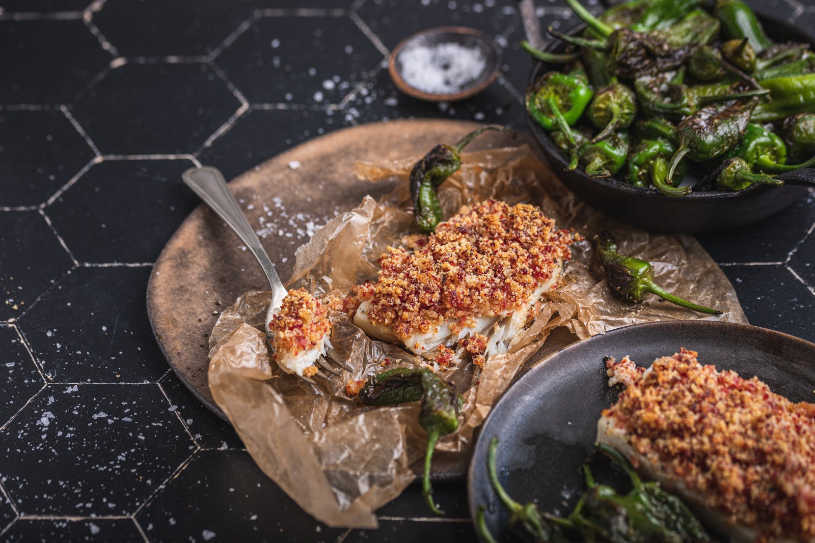 Chorizo Crumb-Topped Cod with Padrón Peppers – Recipe – Diet Doctor