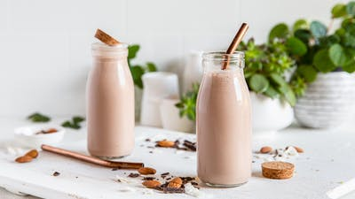 High-protein chocolate almond smoothie