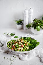High-protein vegetarian plate with edamame and feta cheese