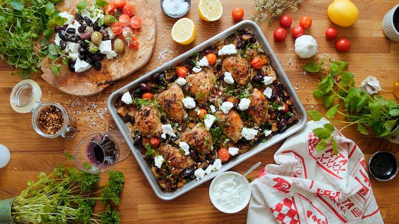 Chicken eggplant sheet pan