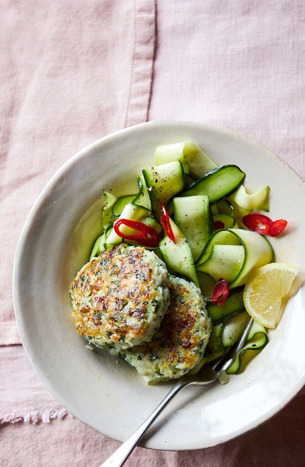 Herby fishcakes with zucchini salad