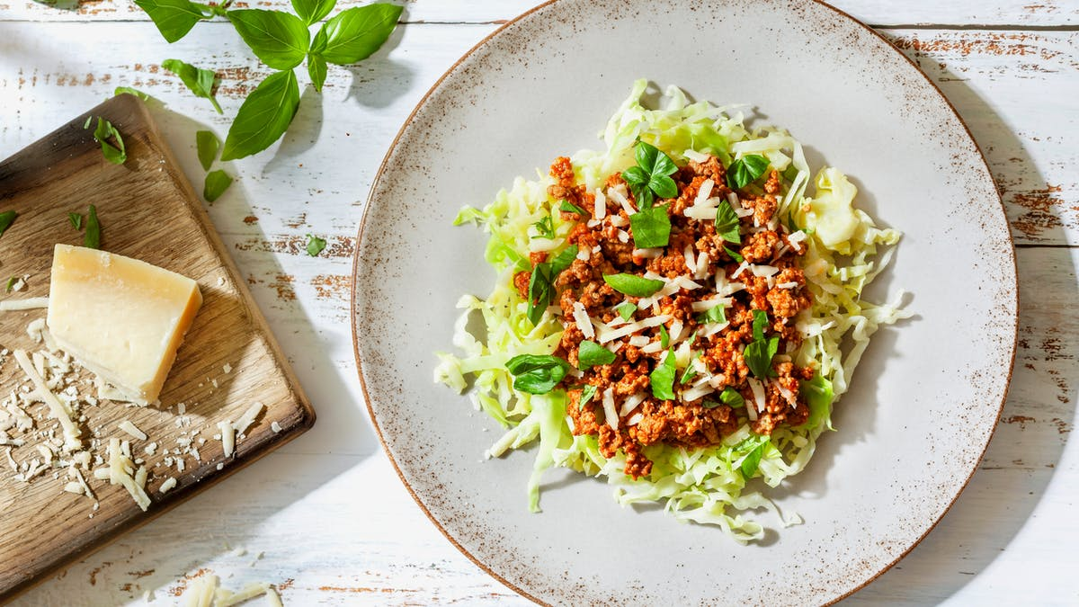 Quick keto turkey bolognese with cabbage noodles
