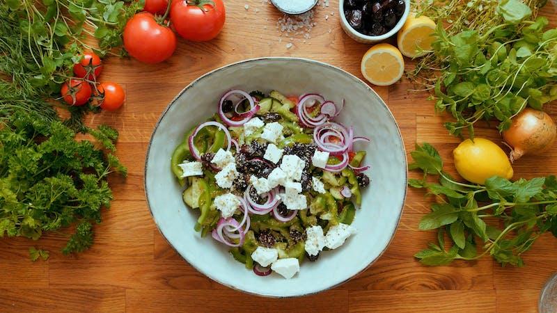 Greek low-carb keftedes bowls with tzatziki