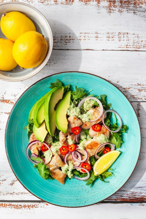 Keto chicken salad with a creamy chimichurri dressing
