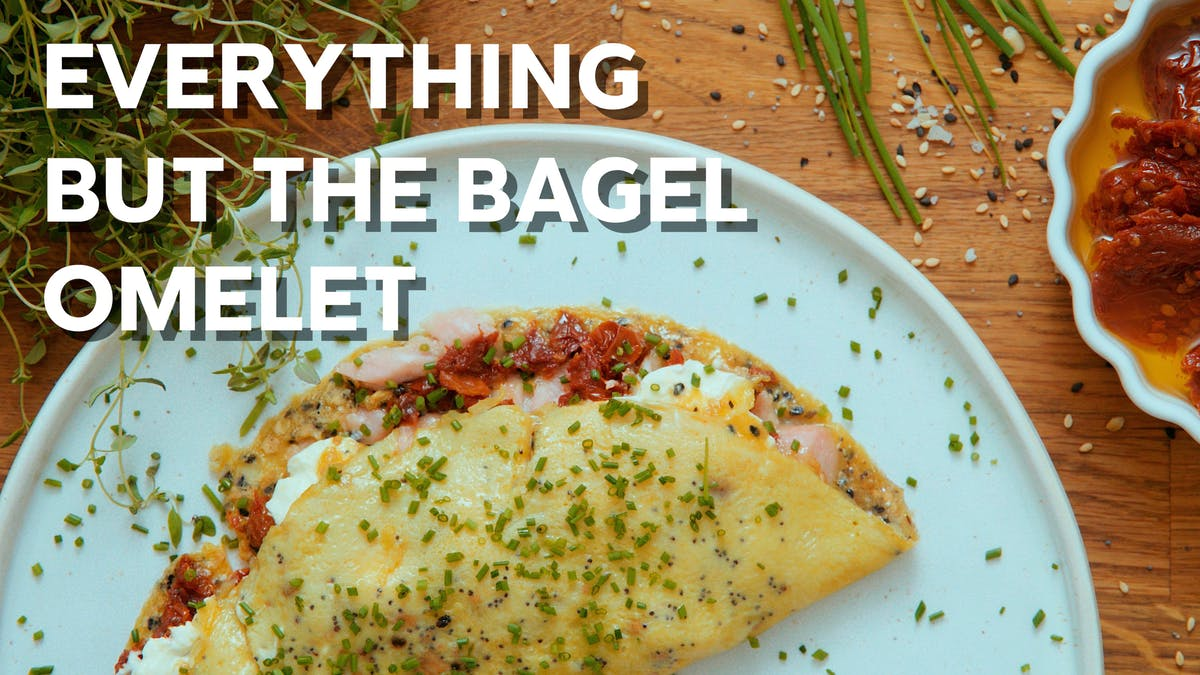 Cooking video: Everything but the bagel omelet