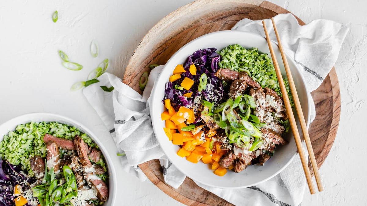 Keto beef and broccoli rice bowl with miso dressing
