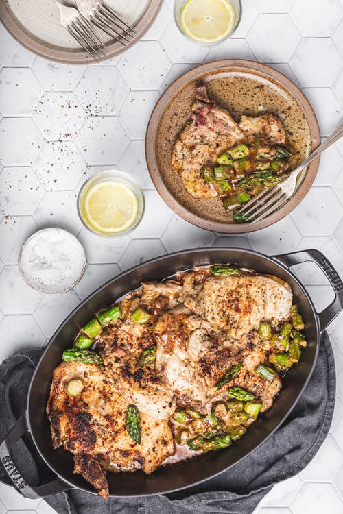 Keto pork chops with asparagus and herbed butter