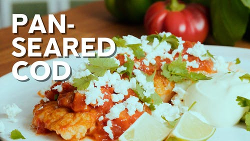 Pan-seared cod in salsa with queso fresco