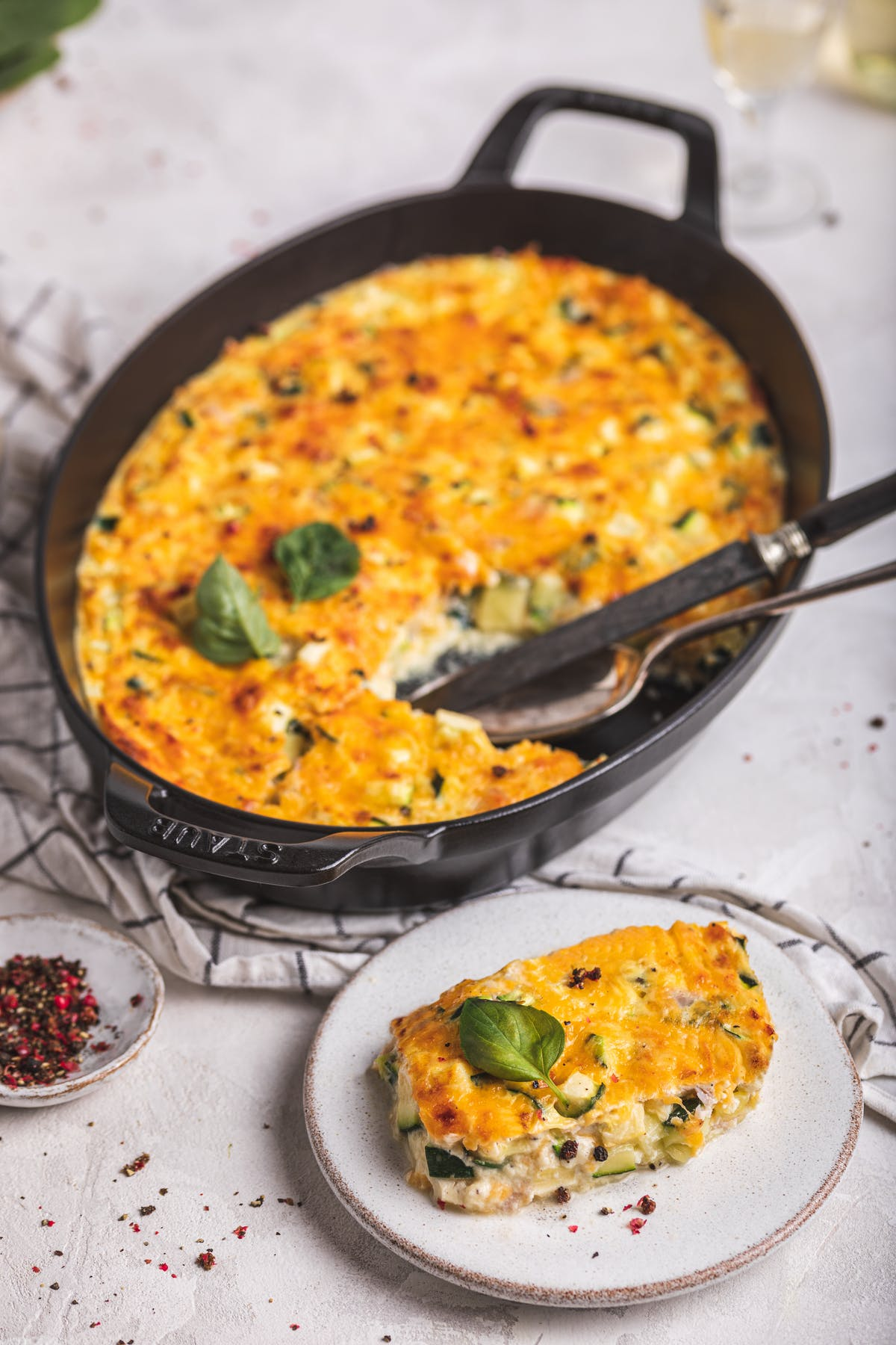 Keto egg casserole with zucchini and ham