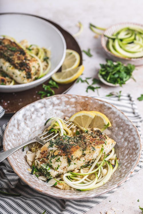 Parmesan crusted keto fish with zoodles